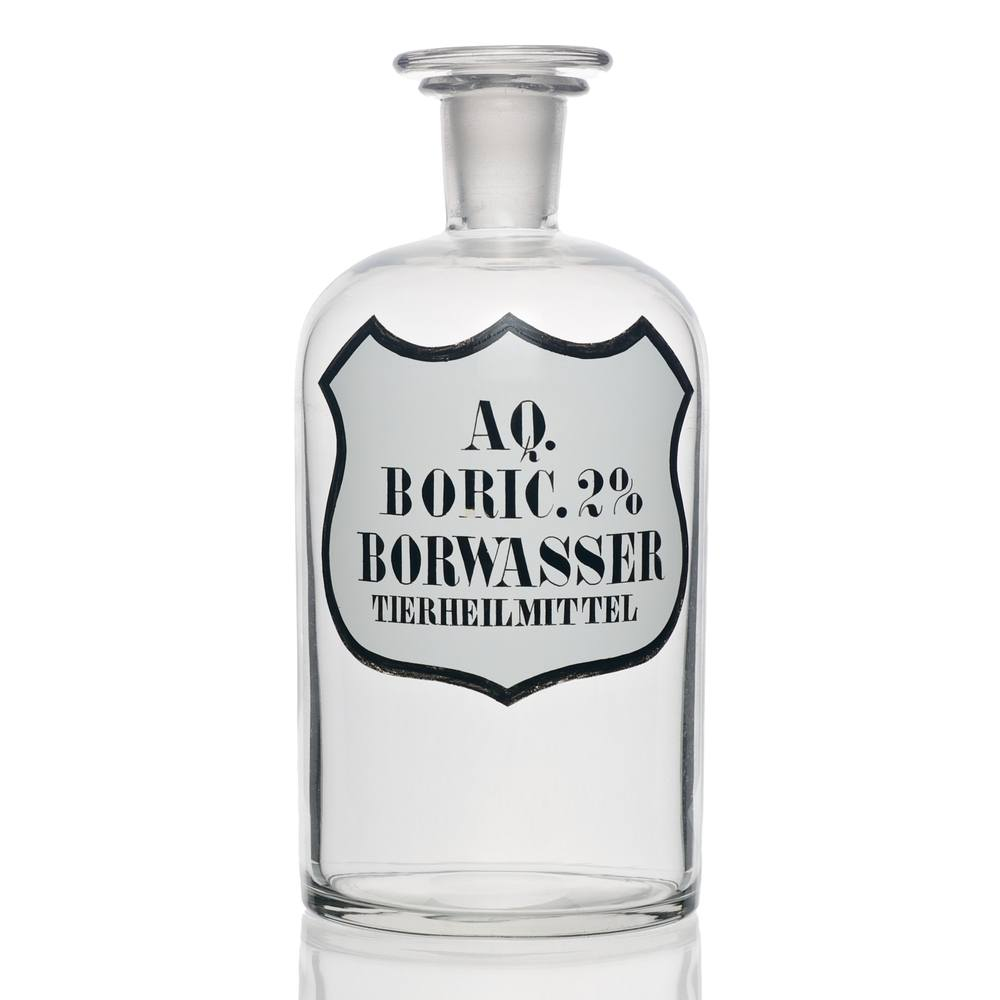 A narrow mouth bottle with boric acid solution.
