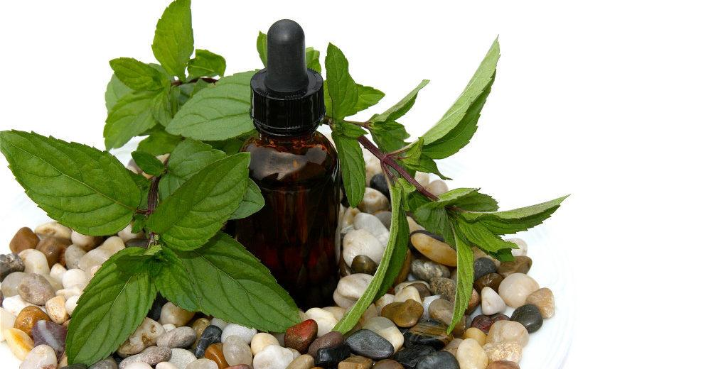 Peppermint oil and stones