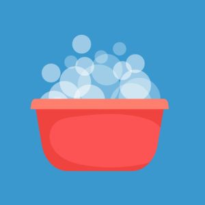 Cartoon picture of Red plastic bowl with soapy water.