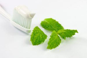 Toothbrush with toothpaste and fresh leaves of mint.