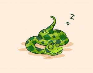 Cartoon snake sleeps on the ground