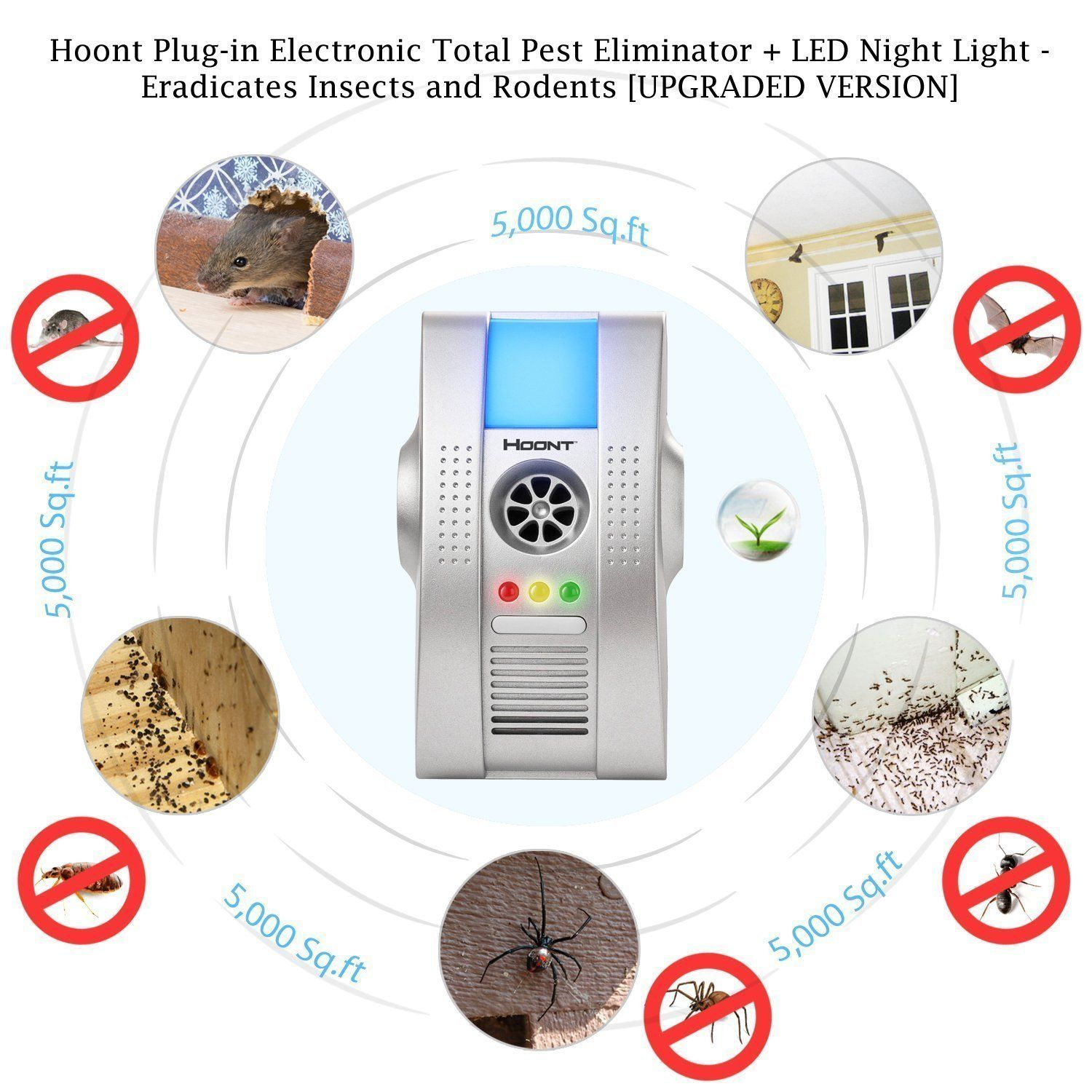 Hoont™ 2 Pack Plug-in Electronic Total Pest Eliminator