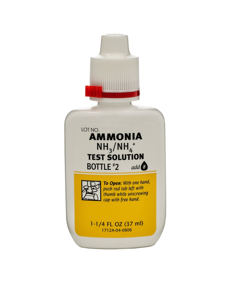 A bottle of ammonia with white-yellow tag on white background.