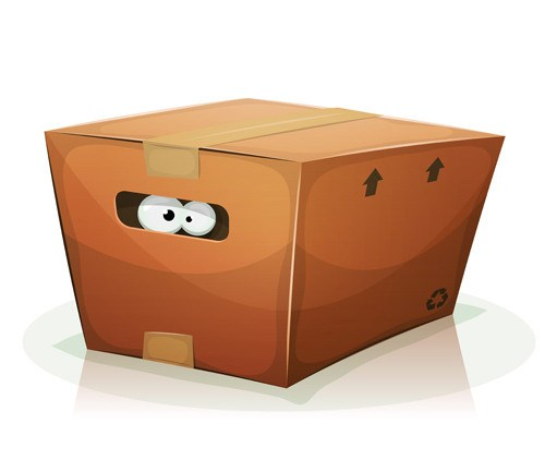 A pair of cartoon eyes in brown cardboard trap.