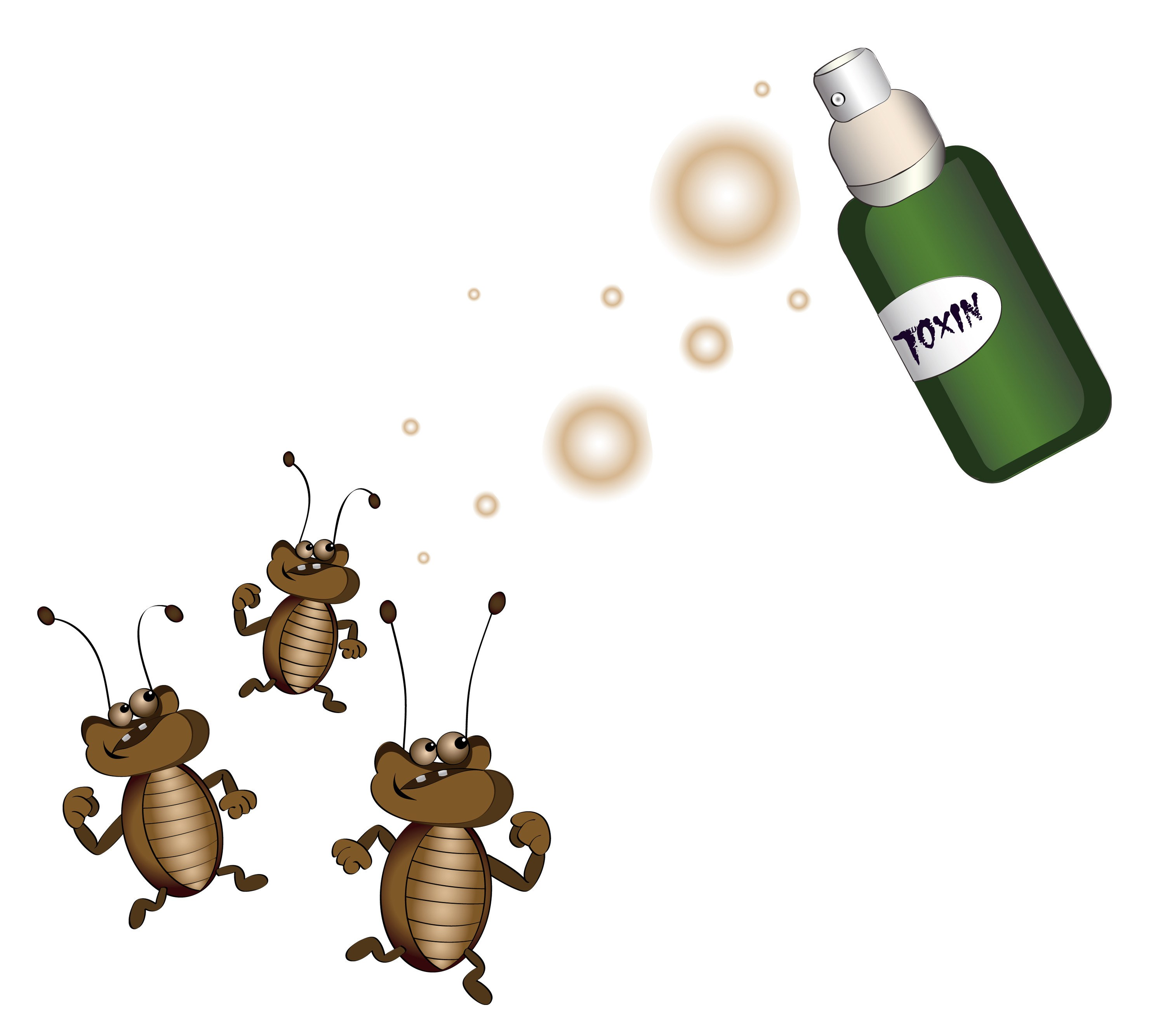 Chemical Cleaning Services. Caution attention signs. Insect fumigation spray symbol.