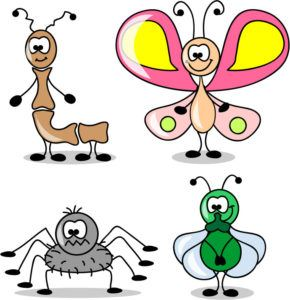 Cartoon set of different insects on white background.