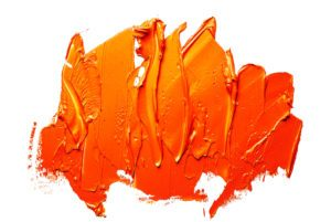 Orange oil paint spot on a white background.