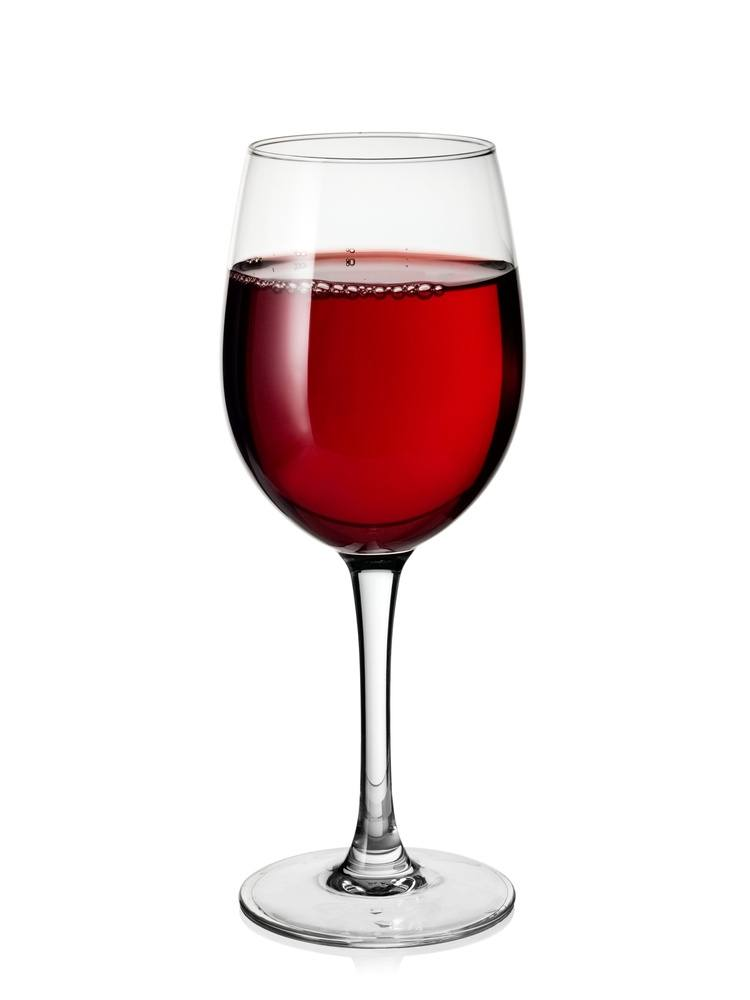 A glass of red wine on white background.