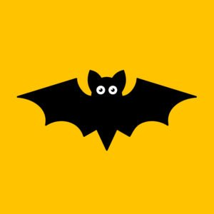 Cartoon bat on orange background.