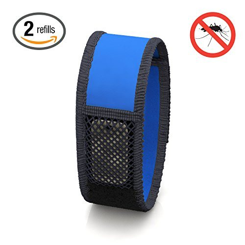 Hoont8482; Natural Mosquito Repellent Wristband + 2 Refills / Powerful Protection and Comfortable Fabric with Velcro Adjustable Strap - Fits All Ages (Blue).