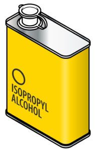 A yellow rectangular metal tin of isopropyl alcohol.