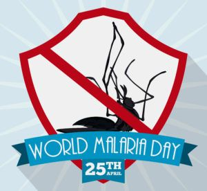 Dead mosquito inside in a shield with a blue ribbon remembering the prevention of malaria in commemorative poster for World Malaria Day.