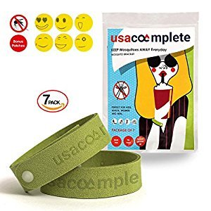 Natural 7 Mosquito Repellent Bracelet Plus 6 Patches For Kids S Green