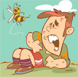 Cartoon picture that bee stings a boy.