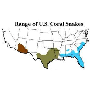Ranges of coral snakes