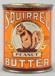A squirrel peanut butter tin
