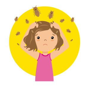 Cartoon picture of girl with lice is scratching her head.