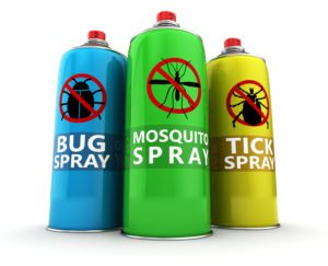 Three different insecticide bottles