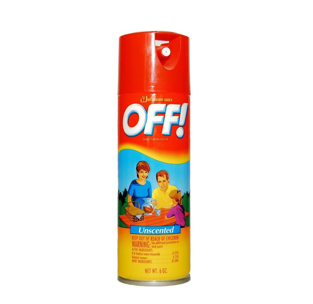 A bottle of off spray on the white.