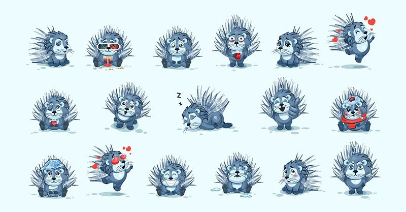 Set emoji character cartoon porcupines