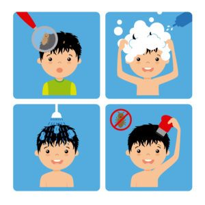 Cartoon pictures of boy with lice is removing lice step by step.