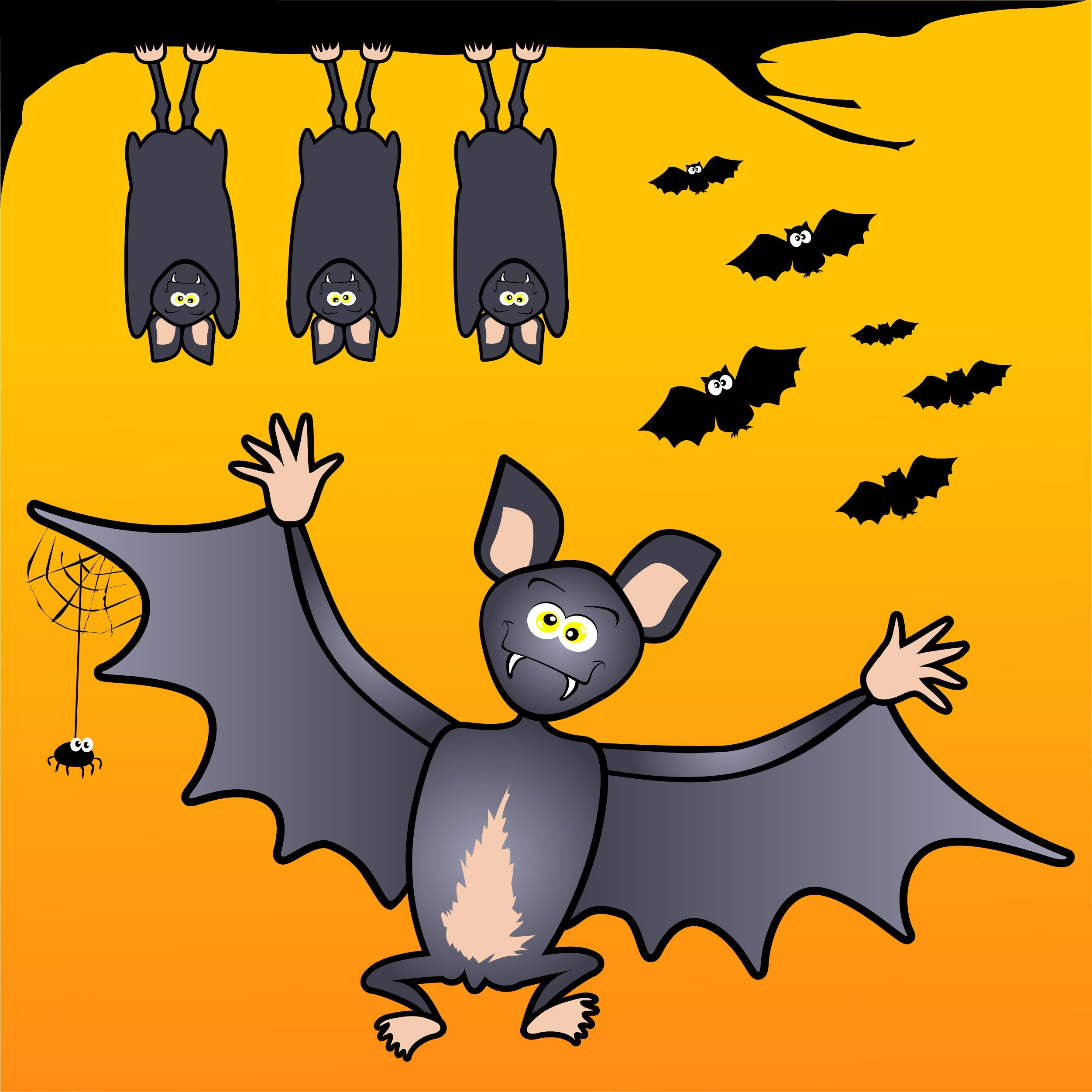 Series of funny bats on orange background.