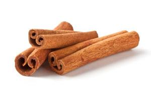 Fragrant cinnamon sticks isolated on white background.