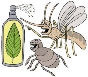 Insect repellent cartoon on white background