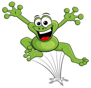 Cartoon frog is jumping.