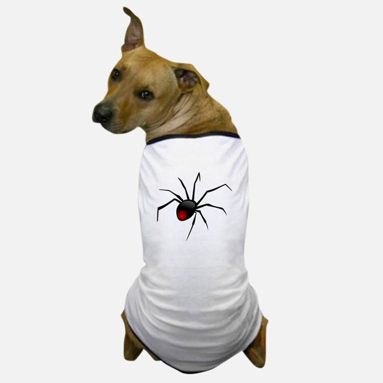 Redback Spider Dog T-Shirt with a dog on white background.