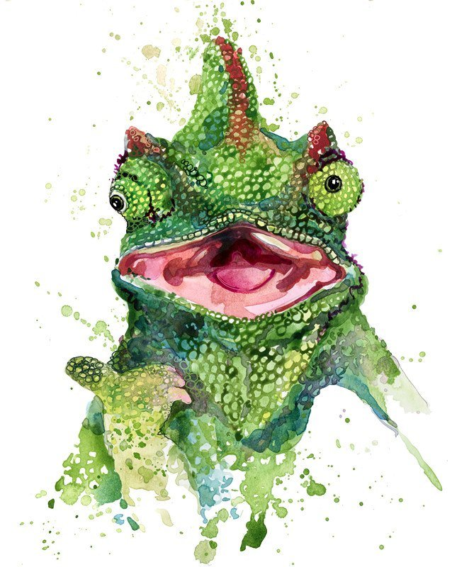 Lizard watercolor illustration