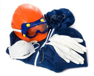 Protective clothing on white background.