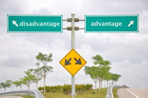 Road signage at highway antonyms disadvantage or advantage.
