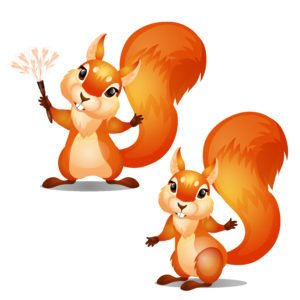 Two cute animated squirrels isolated on white background. Cartoon vector illustration close-up.